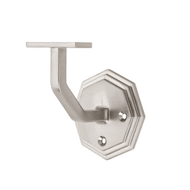Octagon Brushed Nickel Wall Mounted Handrail Bracket (Pack of 1)