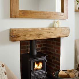 Solid Oak Beam Rustic Character Mantel Shelf - Aged & Flamed