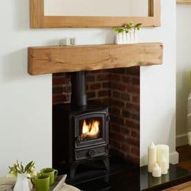 Solid Oak Beam Rustic Character Mantel Shelf - Deep Waney