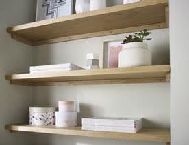 Solid Oak Deep Alcove Shelf 20x400mm Custom Made To Measure