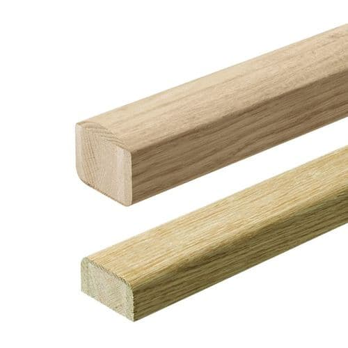 Solid White Oak Elements Handrail & Baserail Kit Un-Grooved  for Glass Panel Clamps