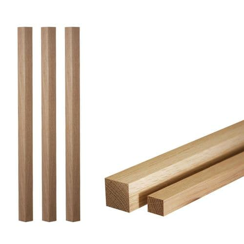 Solid White Oak Floor to Ceiling Spindle Square 55x55x2400mm
