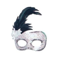 Side Feather Silver Mask