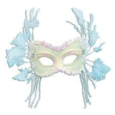 White Velvet Mask with Feathers