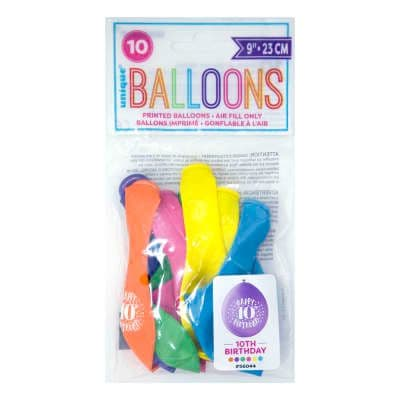 """10 'Happy 10th Birthday' 9"""" Assorted Colour Balloons"""