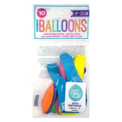 """10 'Happy 18th Birthday' 9"""" Assorted Colour Balloons"""