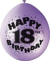 "10 'Happy 18th Birthday' 9"" Assorted Colour Balloons"