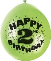 "10 'Happy 2nd Birthday' 9"" Assorted Colour Balloons"