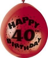 "10 'Happy 40th Birthday' 9"" Assorted Colour Balloons"