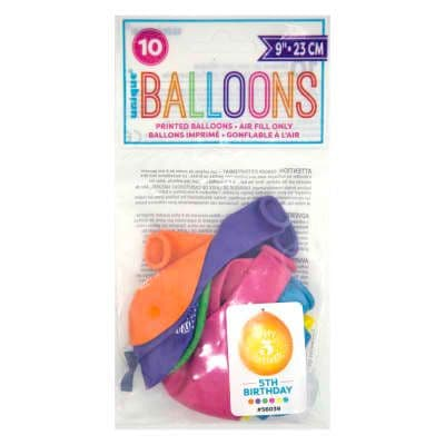 """10 'Happy 5th Birthday' 9"""" Assorted Colour Balloons"""