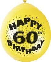 "10 'Happy 60th Birthday' 9"" Assorted Colour Balloons"