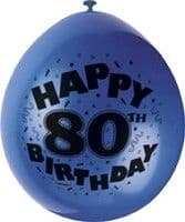 "10 'Happy 80th Birthday' 9"" Assorted Colour Balloons"