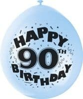 "10 'Happy 90th Birthday' 9"" Assorted Colour Balloons"