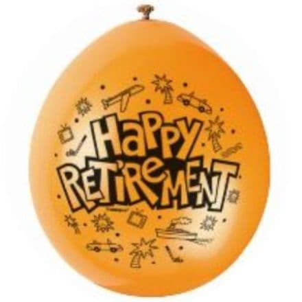 "10 'Happy Retirement' 9"" Assorted Colour Balloons"