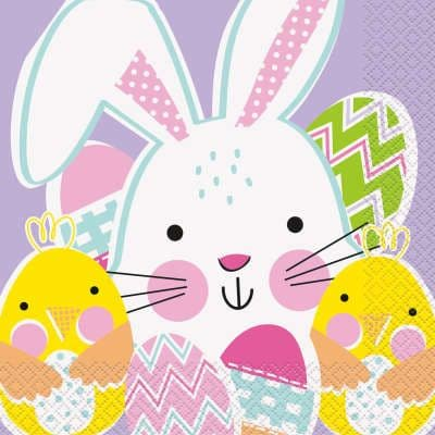 16 Easter Bunny Paper Party Napkins