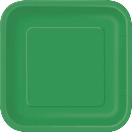 "16 Green Paper Party Plates 7""/18cm Square"