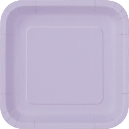 "16 Lavender Paper Party Plates 7""/18cm Square"