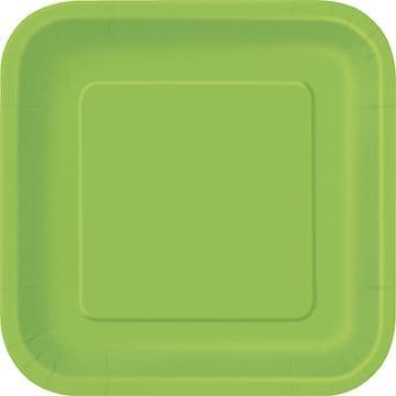 "16 Lime Green Paper Party Plates 7""/18cm Square"