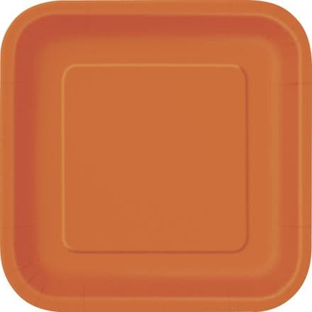 "16 Orange Paper Party Plates 7""/18cm Square"
