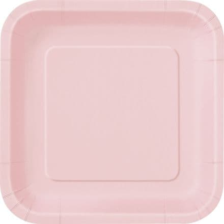 "16 Pink Paper Party Plates 7""/18cm Square"