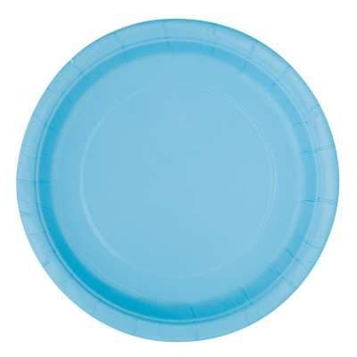 "16 Powder Blue Paper Party Plates 9""/23cm"