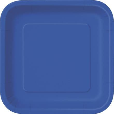 "16 Royal Blue Paper Party Plates 7""/18cm Square"