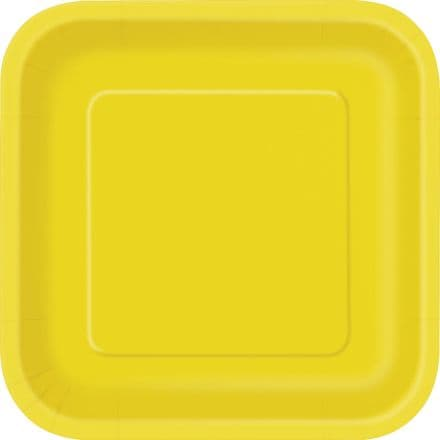 "16 Yellow Paper Party Plates 7""/18cm Square"