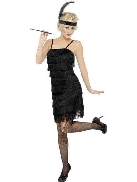 1920's Fringe Flapper Dress Black