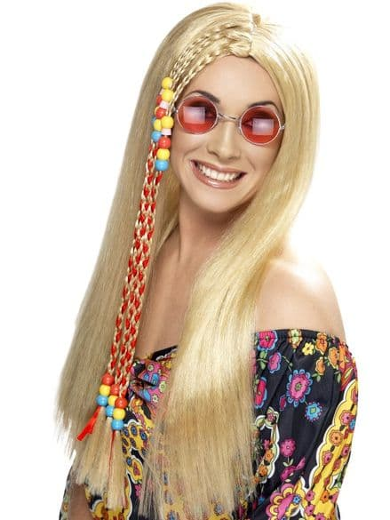 1960's Hippy Party Wig In Blonde