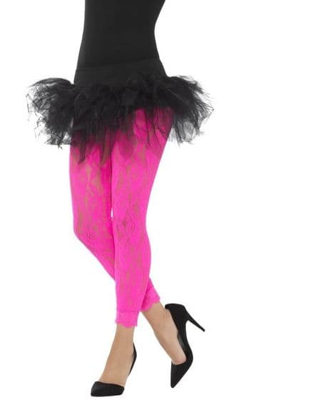 1980's Lace Neon Pink Leggings