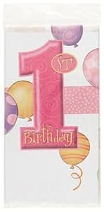 1st Birthday Pink Balloons Theme Party Plastic Tablecover