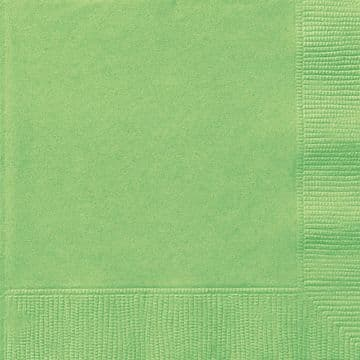 20 Lime Green Paper Party Beverage Napkins