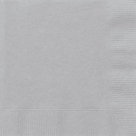 20 Silver Paper Party Beverage Napkins
