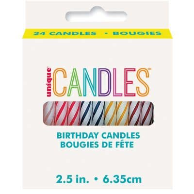 """24 2.5"""" Multi Colour Birthday Candles"""