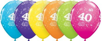 40th Assorted Colour Balloons 6 Pack