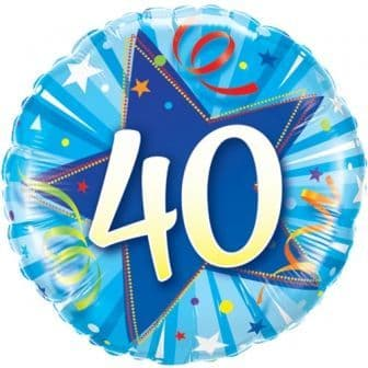 40th Birthday Shining Star Bright Blue Foil Balloon 18""