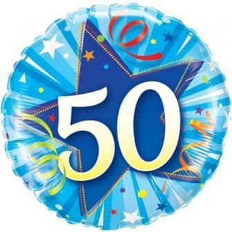 50th Birthday Shining Star Bright Blue Foil Balloon 18""