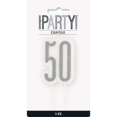 50th Birthday Silver Glitter Cake Candle