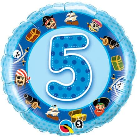 5th Birthday Pirates Blue Foil Balloon