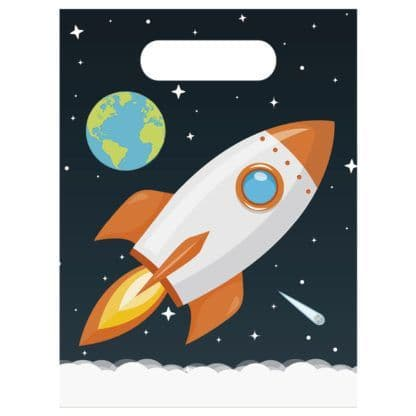 6 Space Plastic Party Bags