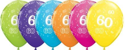 60th Assorted Colour Balloons 6 Pack
