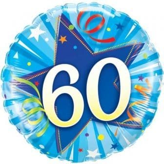 60th Birthday Shining Star Bright Blue Foil Balloon 18""