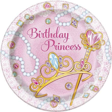 8 Birthday Princess Paper Party Plates