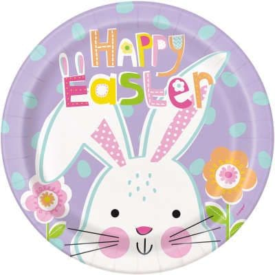 8 Easter Bunny Paper Party Plates