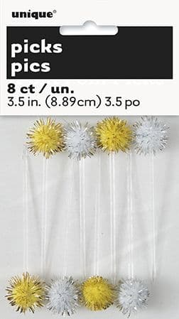 8 Gold and Silver Pom Pom Picks