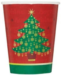 8 Golden Christmas Tree Paper Party Cups