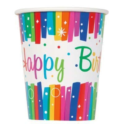 8 Happy Birthday Brilliant Paper Party Cups