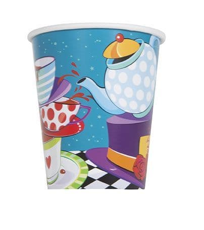 8 Mad Hatter Tea Party Paper Party Cups