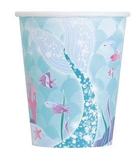 8 Mermaid Paper Party Cups