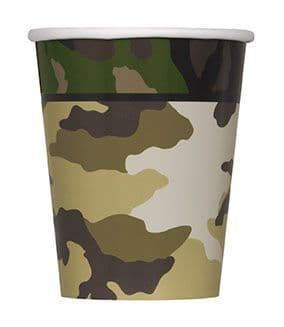 8 Military Camo Paper Party Cups